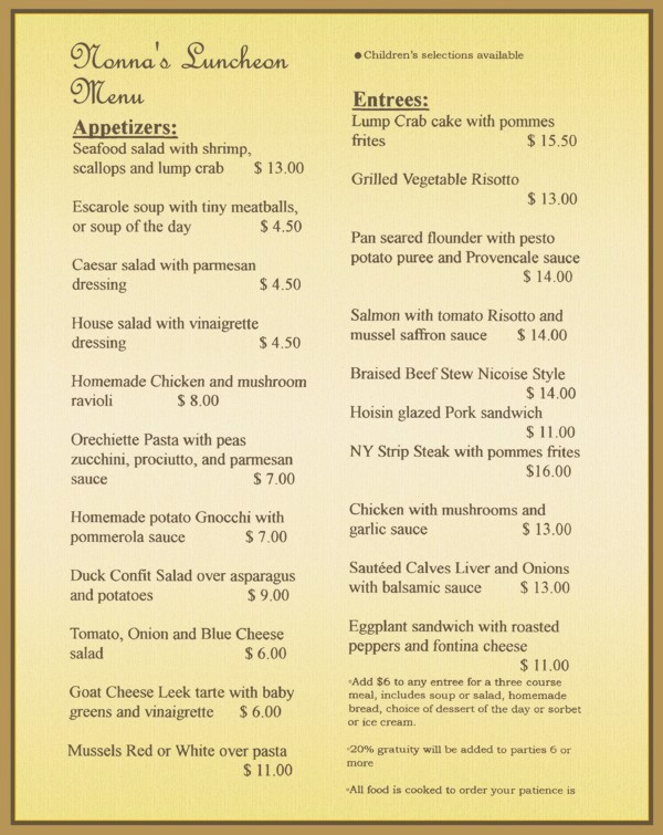 Nonnas Luncheon Menu, Daily Specials Available